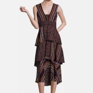 A.L.C Haley silk print tiered midi dress 4